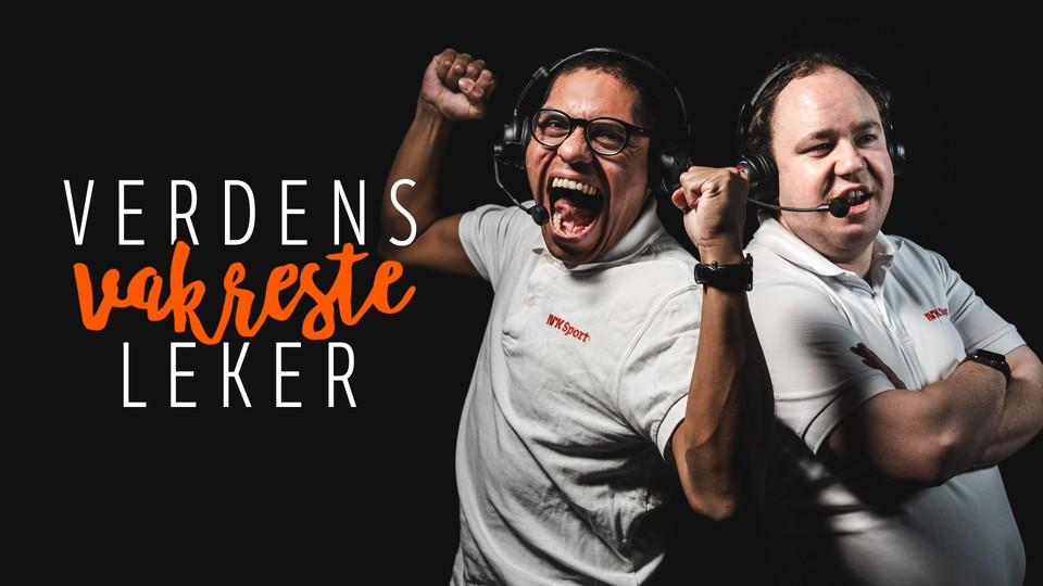 Bilde av Mats Sollid og Erling Due Bergset som rapporterer fra Special Olympics for NRK.