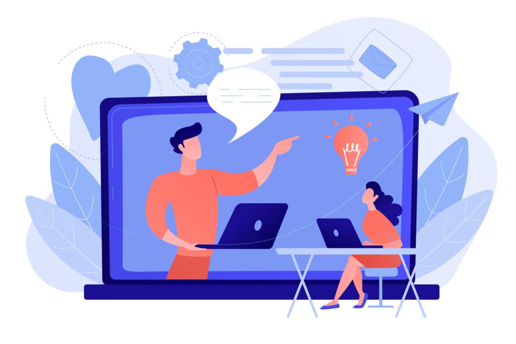 Illustrasjon av webinar. En mann snakker på skjermen til en dame som ser på.