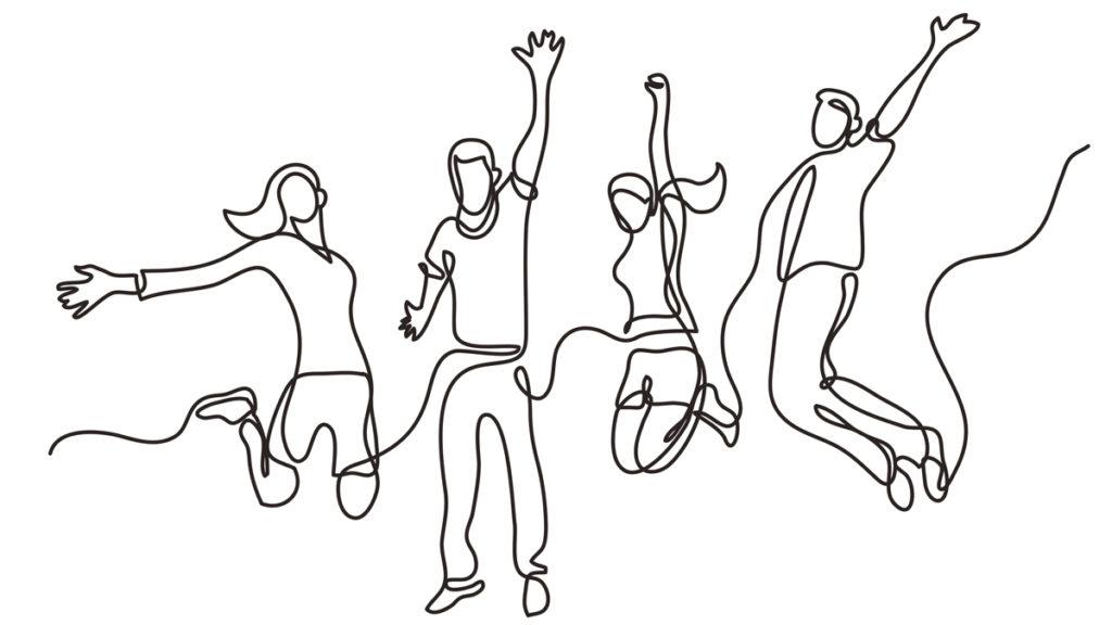 Illustrasjon av gruppe med mennesker som hopper, med armene i lufta