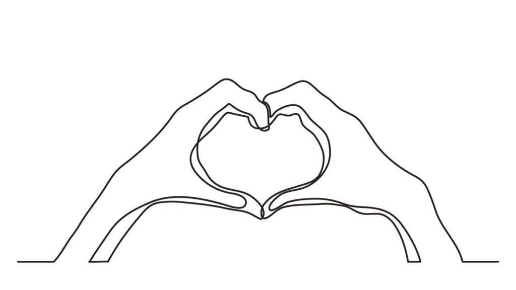 Illustrasjon av to hender som former et hjerte i lufta