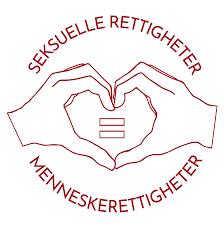logo - to hender former et hjerte med skriften seksuelle rettigheter = menneskerettigheter