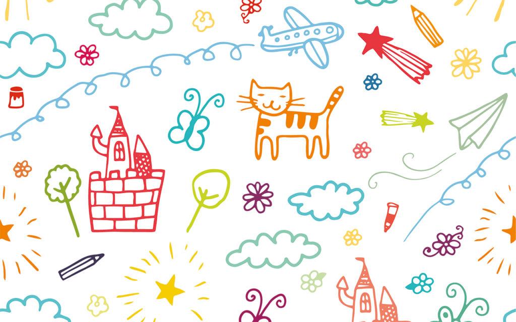Illustrasjon av barnetegninger som viser skyer, katt, slott, blomster osv.