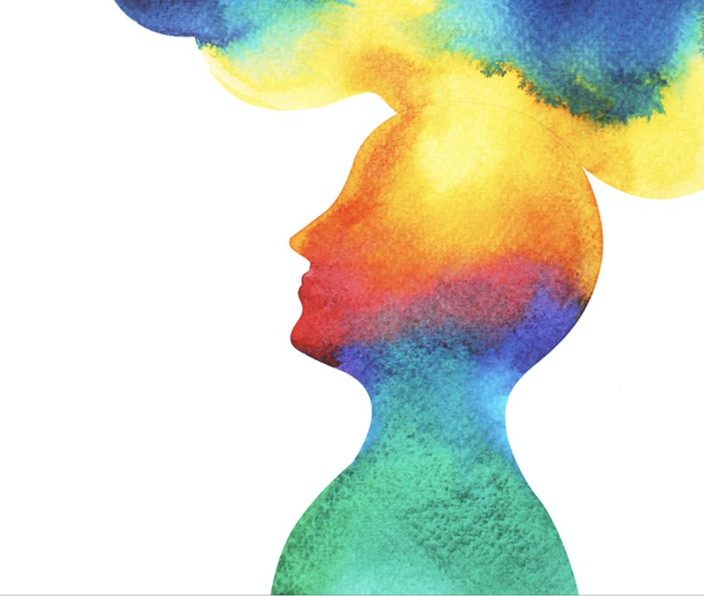 illustrasjon: vannfarget siluett av et menneske med tanker som sklir ut